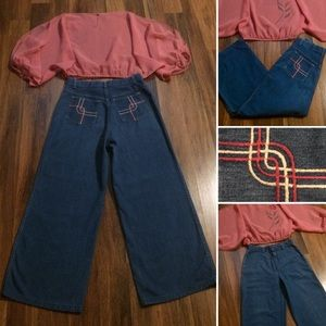 New Listing! Vintage 70s High Waisted Crop Jeans